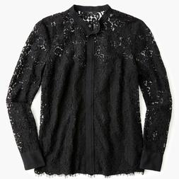 J Crew NWT $120 Button-Up Lace Top in Black | Sz 10 | Item J