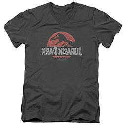 Jurassic Park Dinosaur Movie Spielberg Faded Logo Adult V-Ne