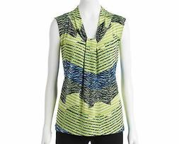 Dana Buchman Knot Front V-Neck Top Wild Lime Blue Print XS S