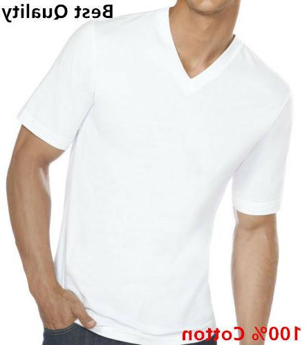 3-12-Pack V-Neck 100% Cotton Tagless Undershirt