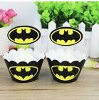 24 Pcs One Dozen Batman Cupcake Wrappers and toppers