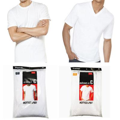 3-6-12 PACK MENS COTTON NECK V-NECK TAGLESS S-3XL