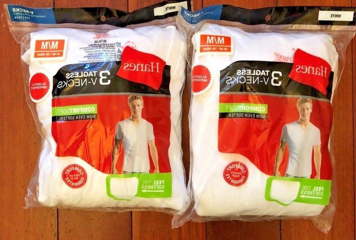 6 Pack Hanes Men's V Neck T Shirt Undershirt ComfortSoft Bla