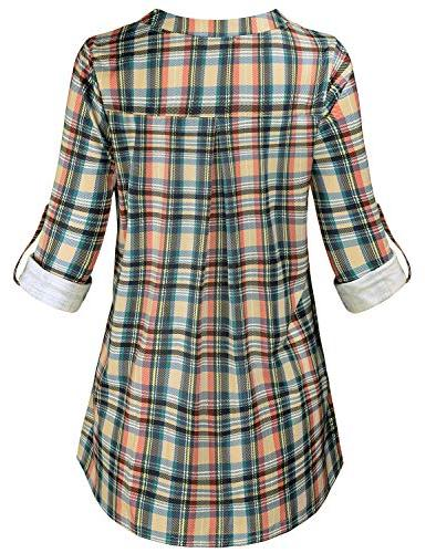Shirts Women, V Neck Zip Up Blouse with Pockets Button Loose Tops Checkered Office XXL