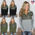 Women V-Neck Zip Up Camo Tops Long Sleeve Casual Loose Blous