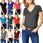 Basic V Neck T Shirts Solid Color Plain Tee Top Stretch Laye