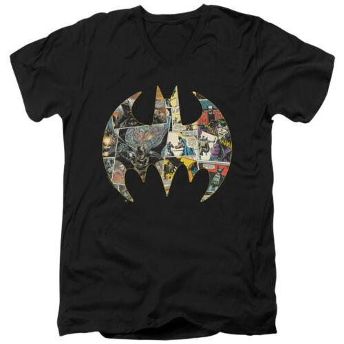 batman collage shield adult v neck t