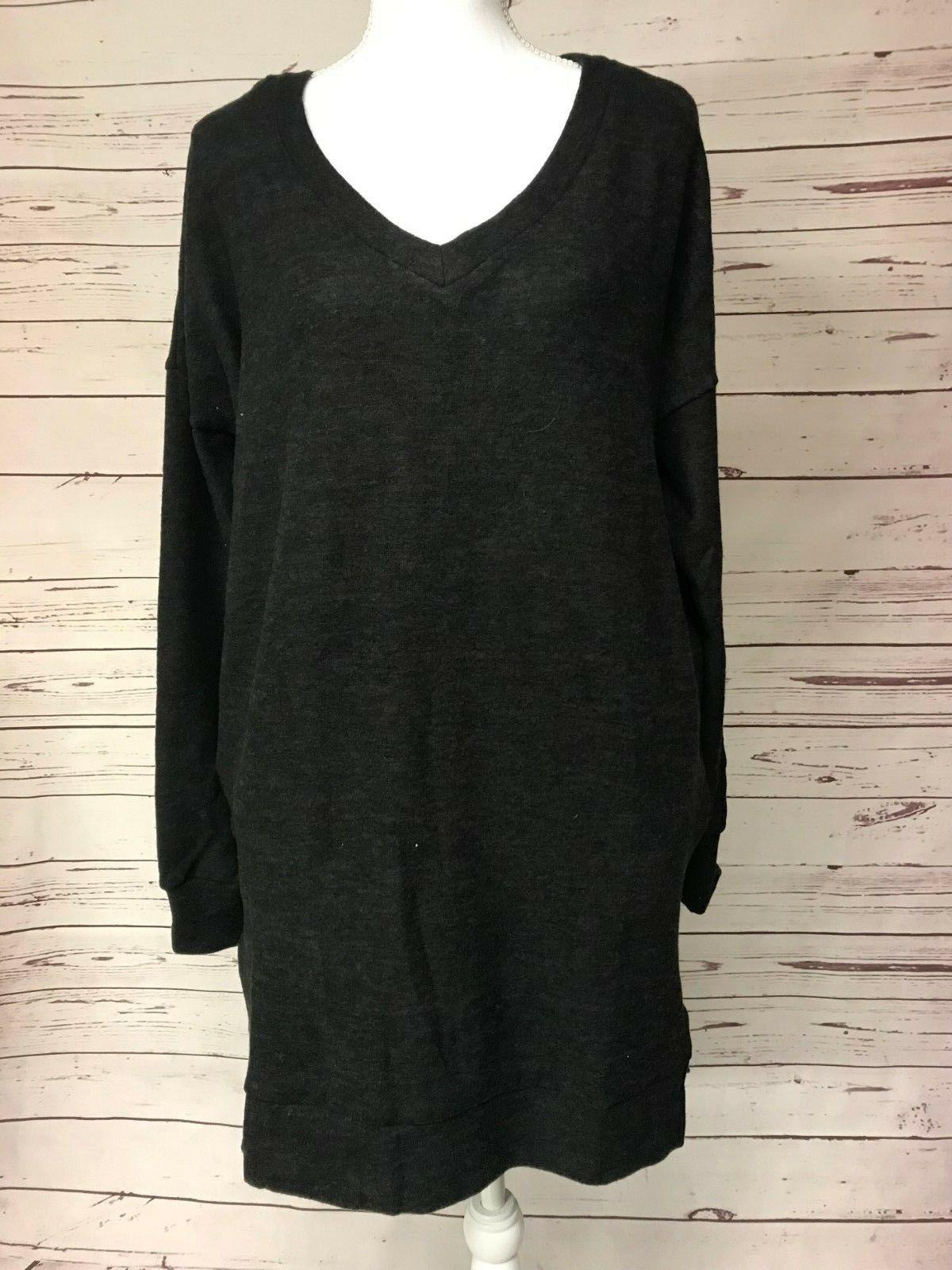 black v neck sweater brushed tunic boutique