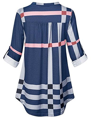 SeSe Code Tunic Tops for Three Sleeve Collared Graphic Beauty Blue