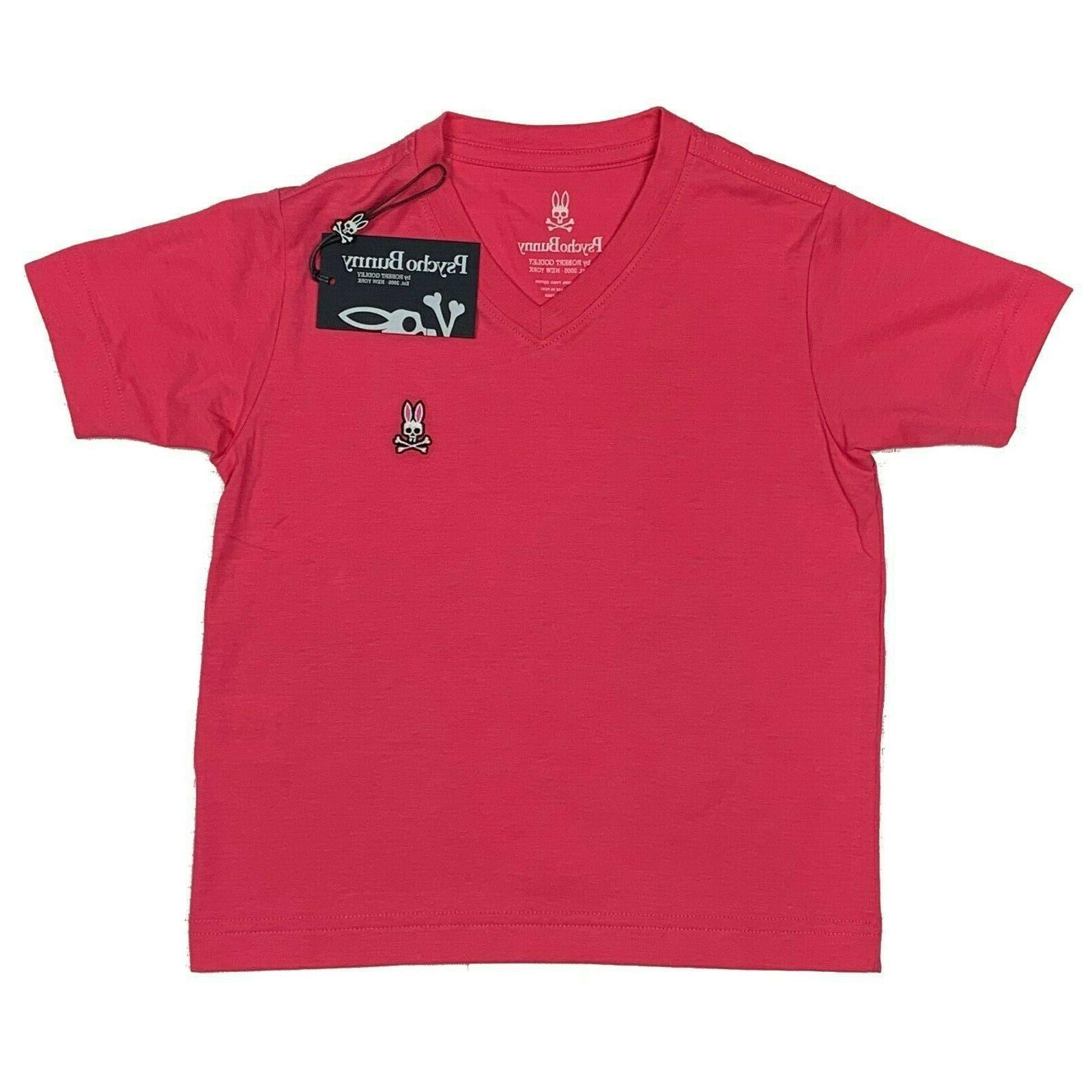 boys classic v neck tee hot pink