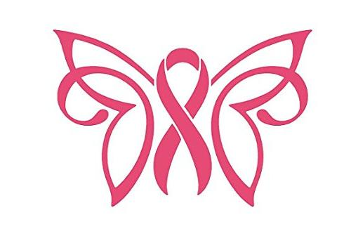 breast cancer butterfly ribbon decal