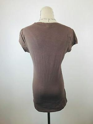 Zenana Brown Short Sleeve V-Neck Size
