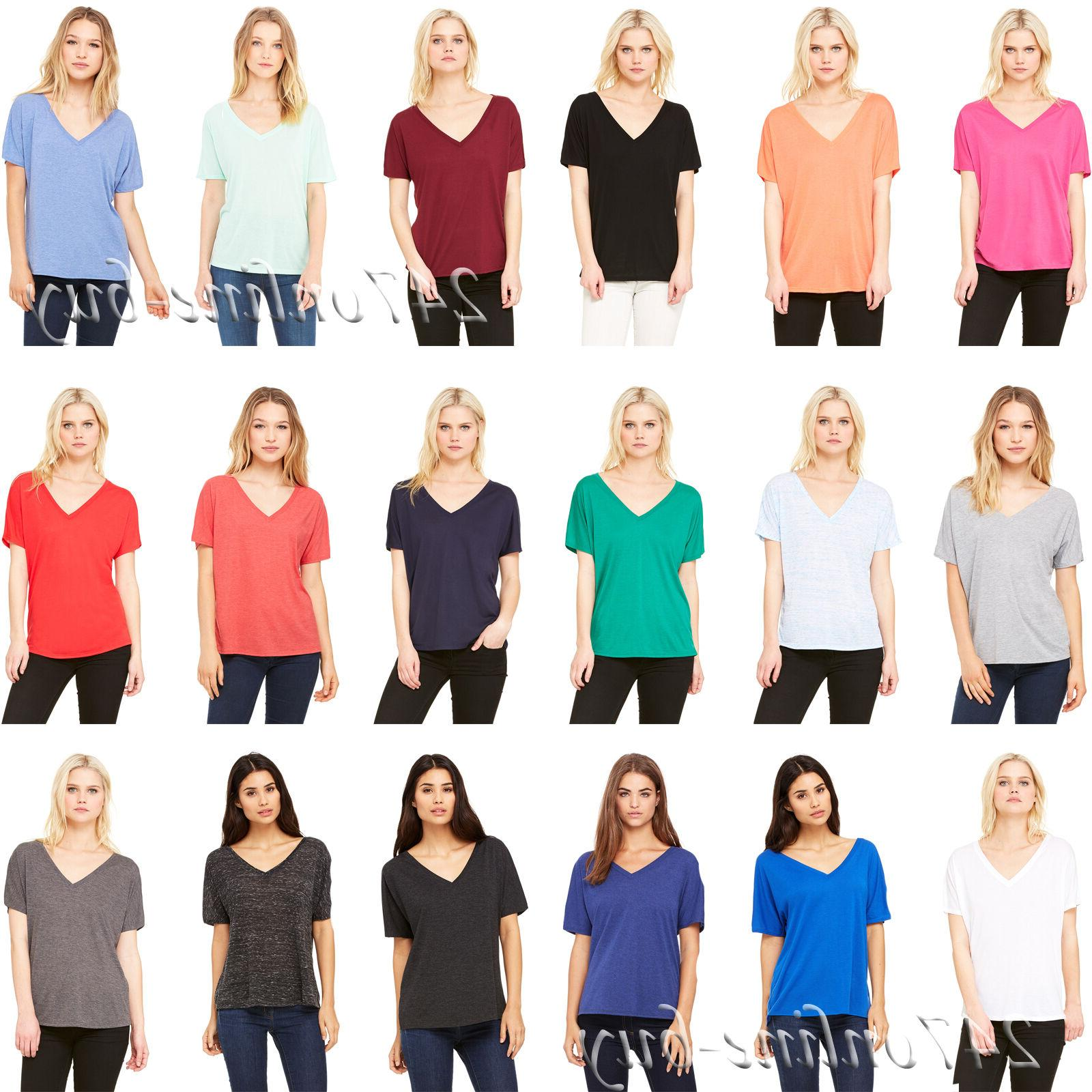 canvas womens slouchy v neck t shirt