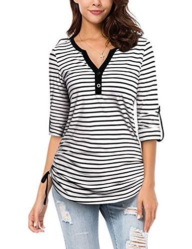 FANSIC Shirts, Women's and White Stripes Sleeve T-Shirt Tops