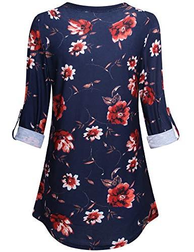 Messic Tops for Quarter Shirts V Neck Fitted Tunic Shirts Flowy Floral Tunic Tops Blue Red M