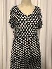 Chap's V -Neck Short Sleeved Blue /white Polka Dot A-line Dr