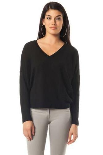 LNA Clifton V - Neck Sweater Black woven Jersey Contemporary