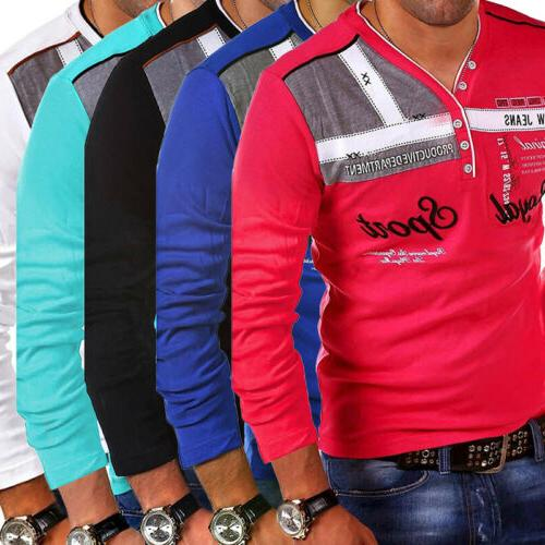 Fashion Men's Solid Sleeve T-Shirt Tops NEW