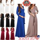 Fashion Pregnant Women Maternity 3/4 Sleeve Dresses Cross V-
