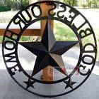 GOD BLESS OUR HOME Metal Barn Star Rustic Brown Texas Rope R