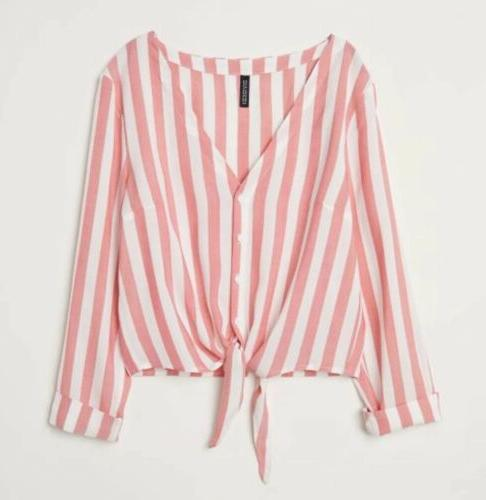 h and m divided striped button up