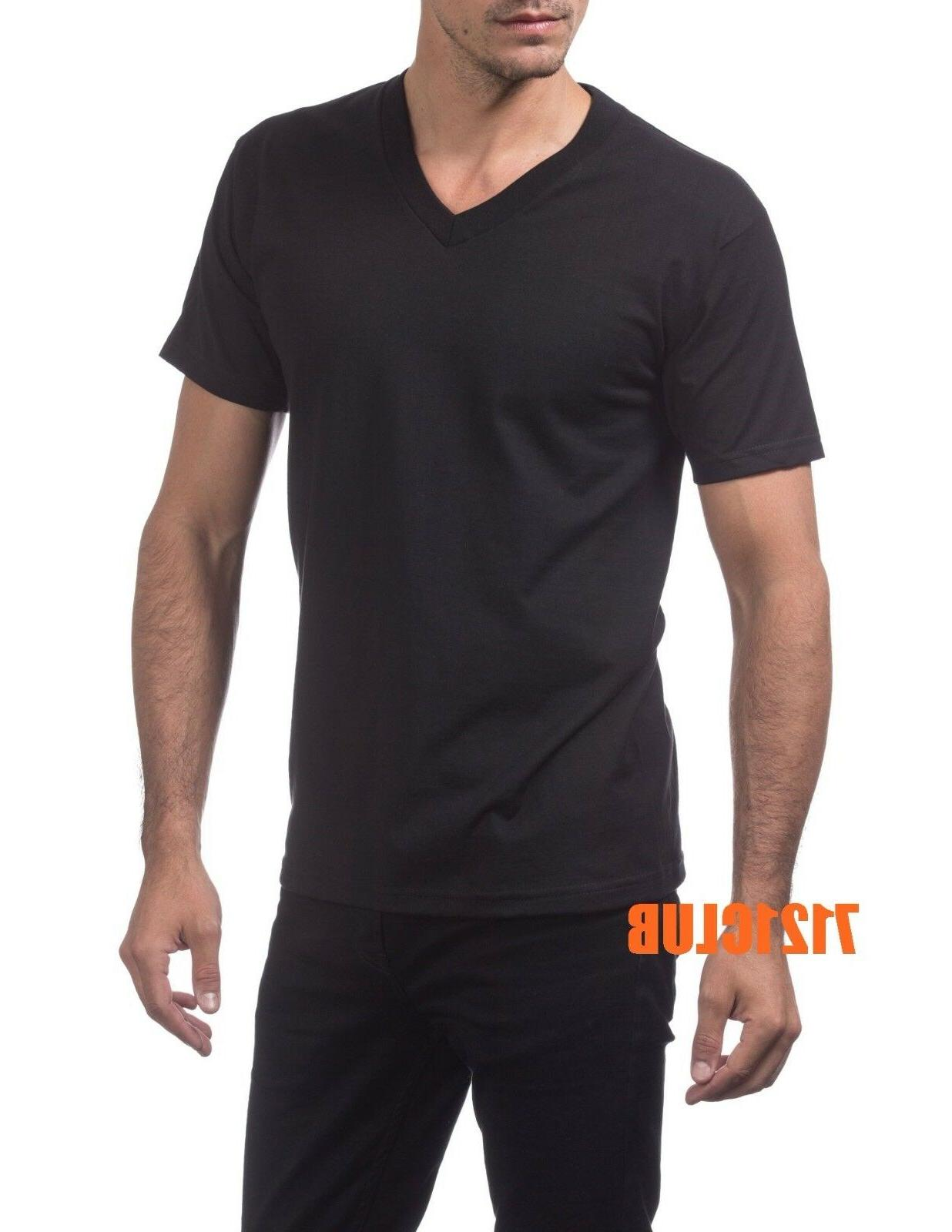 LOT 3 PRO CLUB MEN'S HEAVYWEIGHT V NECK T SHIRTS BLACK PACK