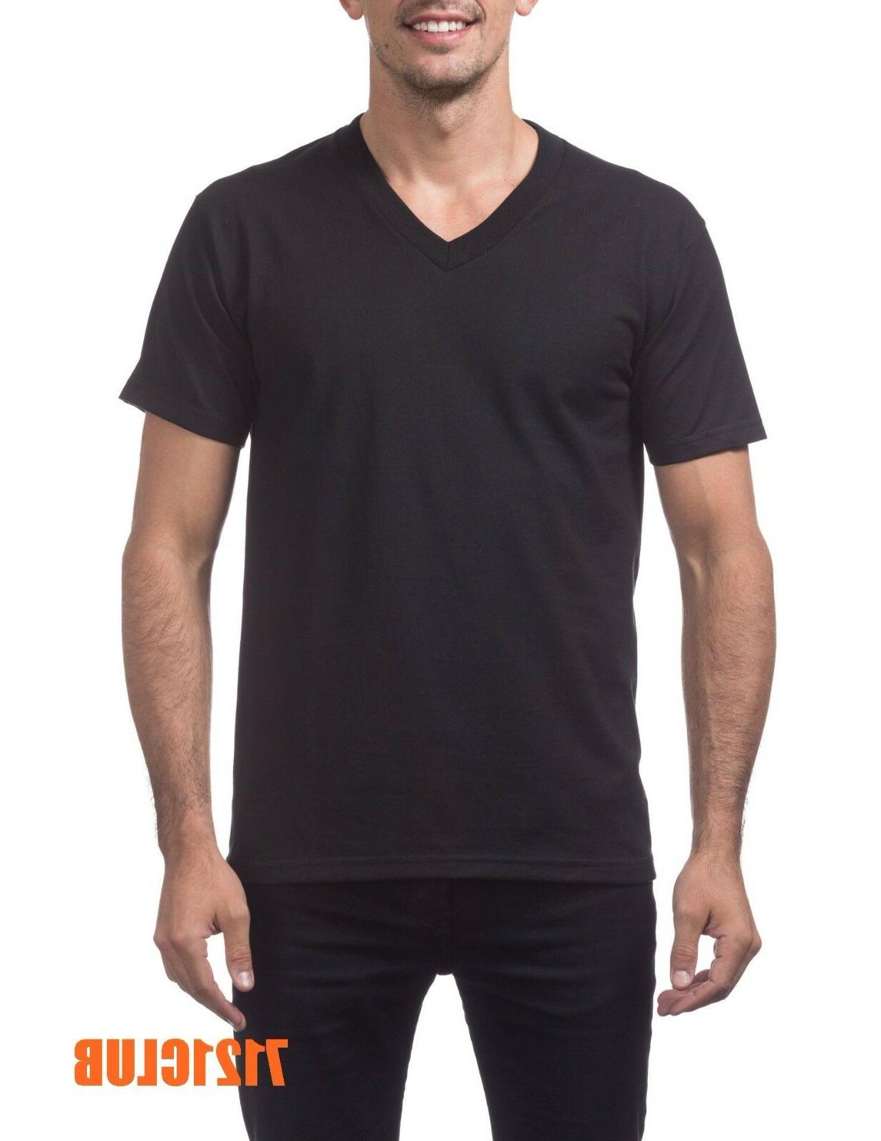 heavyweight v neck t shirt black proclub