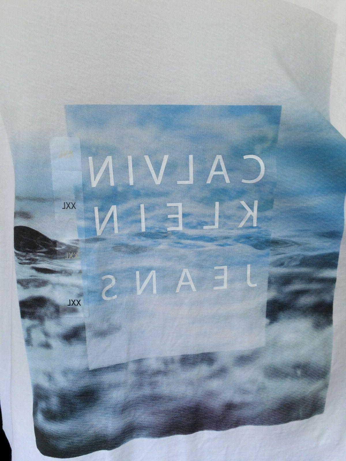 CALVIN White Water Graphic Neck Size 2XL NWOT