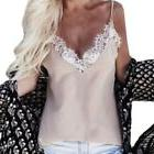 Lace Trim Strappy V Neck Chiffon Sheer Cami Party Top Vest B