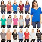 Bella Ladies Flowy V-Neck Drop Sleeve Tee Relaxed fit Womens