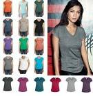 ANVIL Ladies Tri-Blend Semi-Fitted V NECK T-SHIRT with Curve