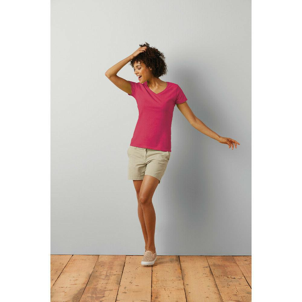 Gildan Ladies V-Neck Basic Cotton Blank Short T-Shirt