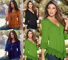 Ladies Women Sexy V Neck Lace Cuff Blouse T-Shirts Casual Lo