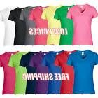 Ladies Womens V-Neck T Shirt Casual Gildan V Neck Shirt 100%