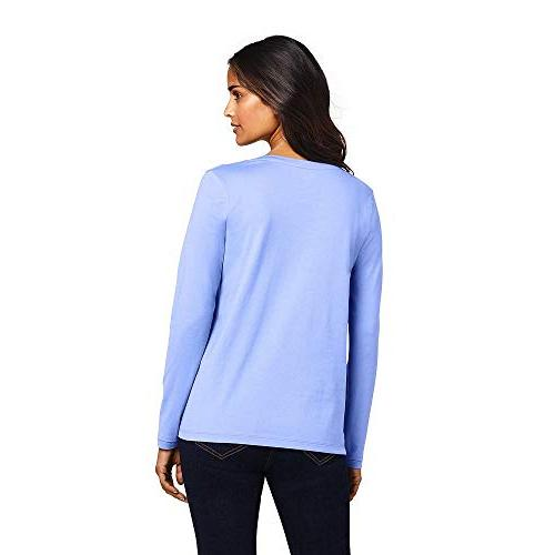Lands' End Cotton Sleeve T-Shirt - Relaxed French Periwinkle