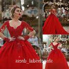 long sleeve red quinceanera dress v neck