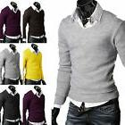 Men Casual Long Sleeve V-neck Knitted Cardigan Pullover Jump