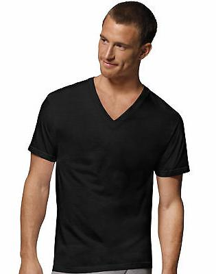 Hanes Men's Dyed V-Neck 4-Pack Men's Under T-Shirt ComfortSo