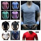 Men's Slim Fit  V-Neck T-Shirt Premium Short Crew Fashion Gy