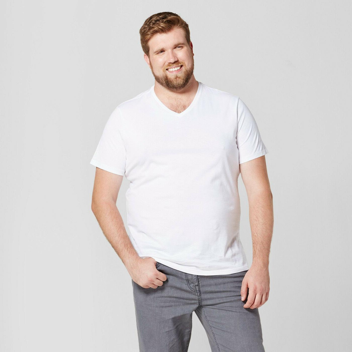 Men's T-shirt - Big & Tall Standard Fit - Short Sleeve V-Nec