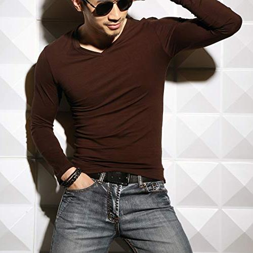 Slim Fit Muscle Cotton Undershirts T-Shirts, S,