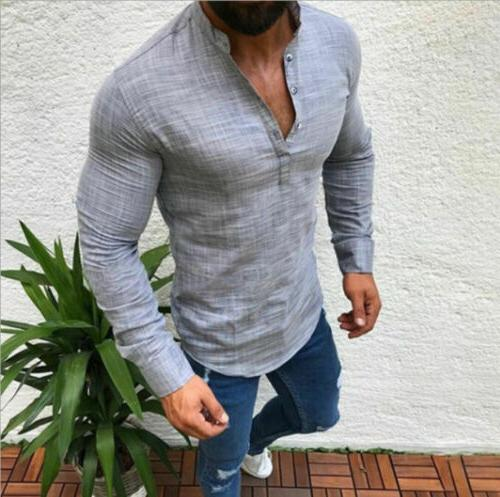Men T-Shirt V-Neck Blouse Slim Muscle Tee Casual