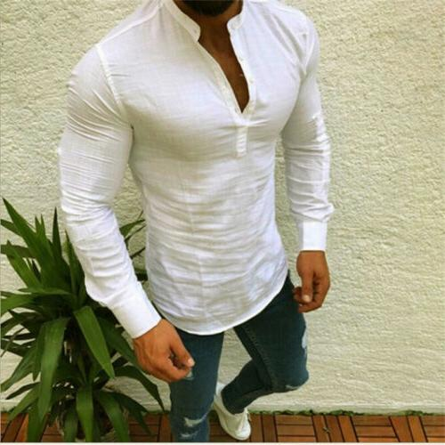 Men Buttons T Sleeve Slim Tee Blouse Tops US