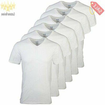 Gildan Mens V-Neck T-Shirts 6 Pack, White, Large