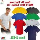 Fruit of the Loom Mens Valueweight V Neck T Plain Cotton Cas