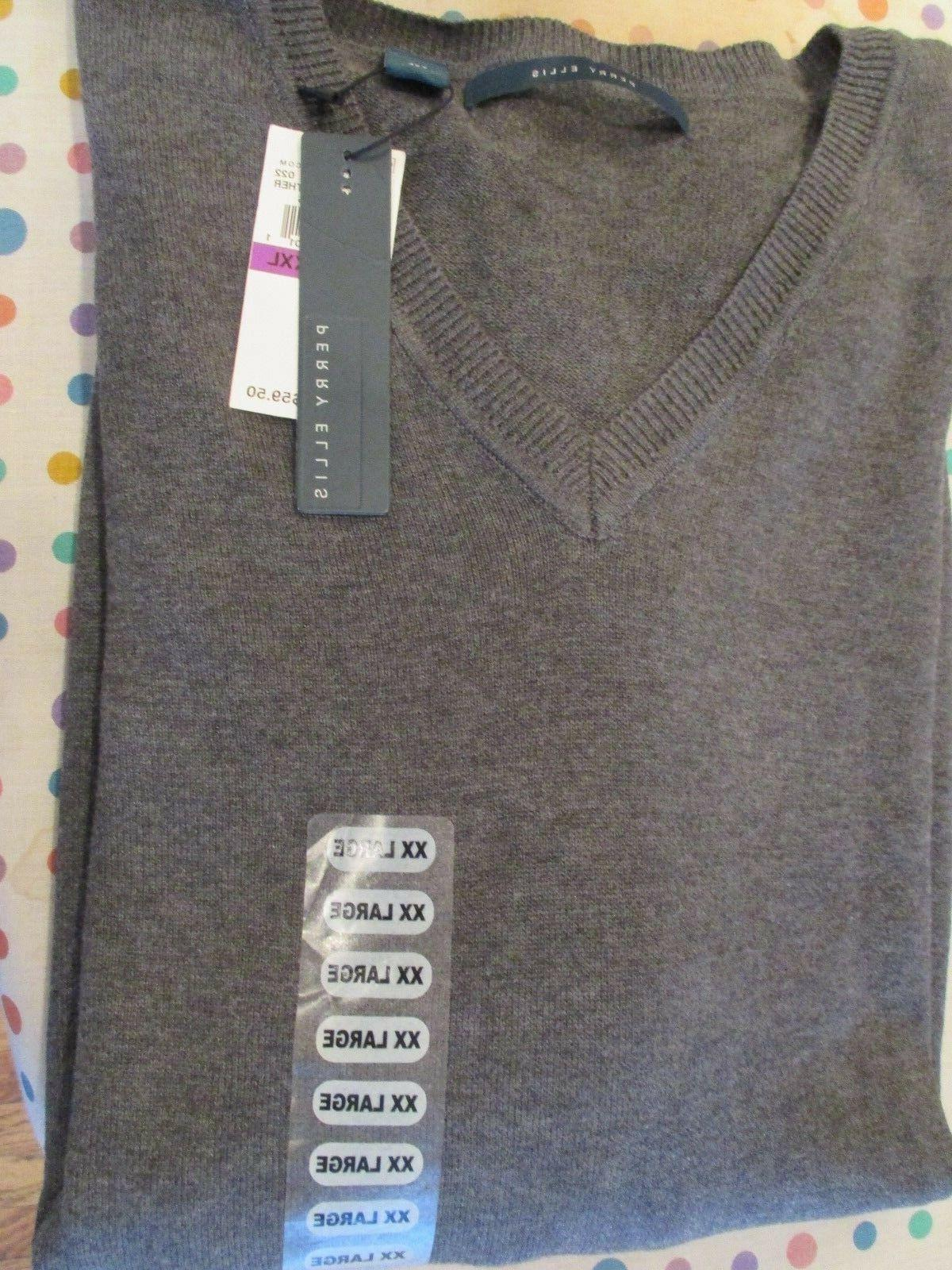 NEW $59.50 Perry Ellis Gray Cotton Rayon