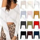 New Ladies V Neck Off The Shoulder Knitted Warm Long Sleeve