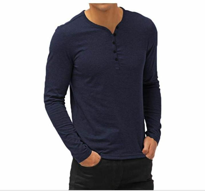 NEW NWT Aiyino Men's Casual V-Neck Button Cuffs Long Sleeve
