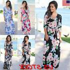 New Women Boho V-Neck Floral Long Maxi Dress 3/4 Sleeve Summ
