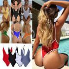 One Piece Women V Neck Thong Bikini Monokini Swimsuit Swimwe
